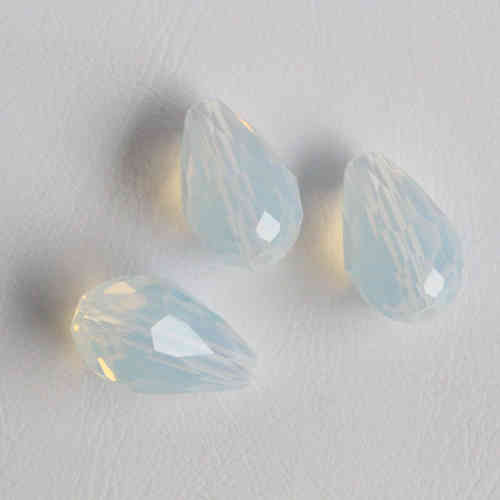 Firepolished dropbead 15x10mm - White Opal