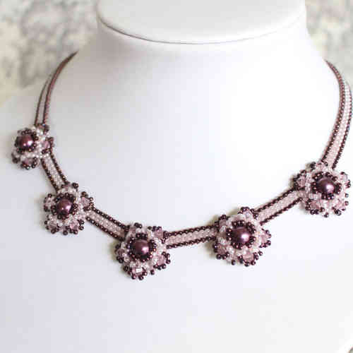 Violet/mauve necklace with pearl bezels