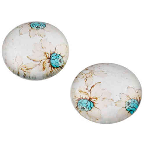 Cabochon round 18mm - Ivory with flowerprint