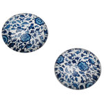 Cabochon round 18mm - White with blue flowerprint