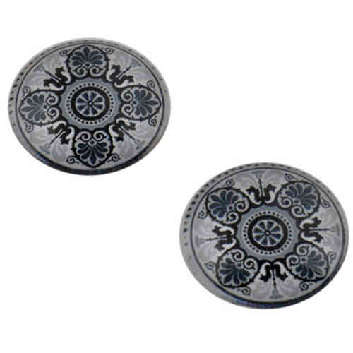Cabochon round 18mm - Grey blue printed