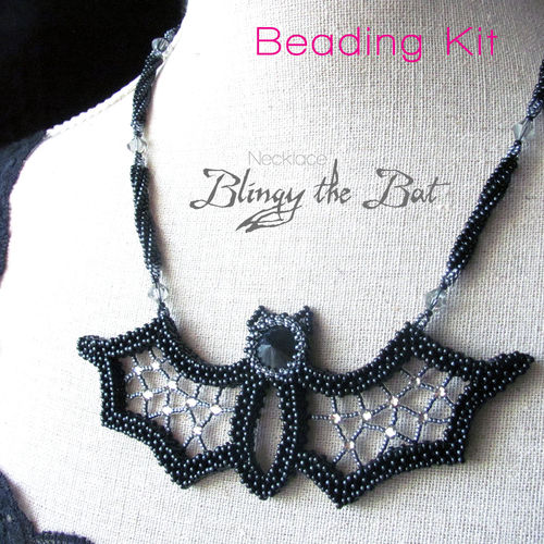 Beading kit for necklace 'Blingy the Bat'