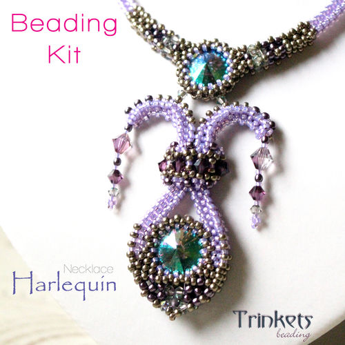Beading kit for necklace 'Harlequin' - Purple