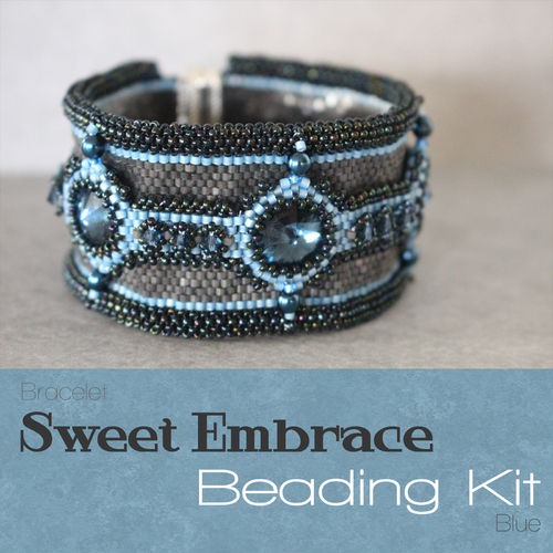 Beading kit bracelet 'Sweet Embrace' - Blue