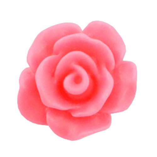 Rose bead 10mm - Matt Hot Pink x5