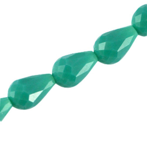 Facet Drop Bead 11x8mm - Emerald Green x3