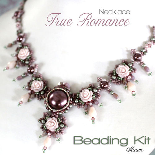 Beading kit for necklace 'True Romance' - Mauve