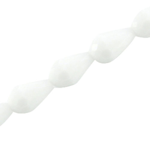 Facet Drop Bead 11x8mm - White Opaque x3