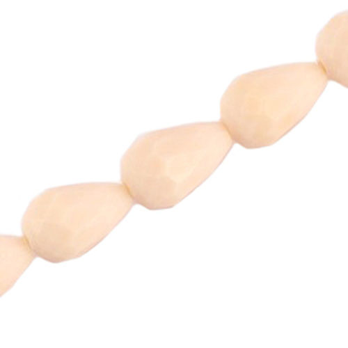 Facet Drop Bead 11x8mm - Light Beige x3
