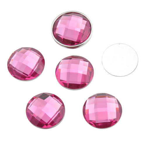 Flatback chessboard round cabochon 16mm - Pink