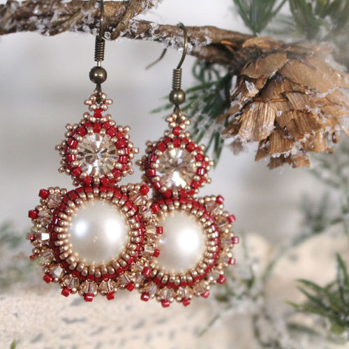 Beading kit for earrings 'Decadence' - Red