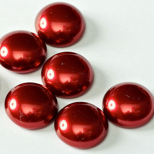 Parel Cabochon rond 14mm - Rood