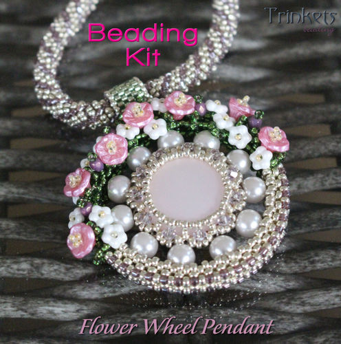 Beading kit - necklace 'Flower Wheel' - Silver