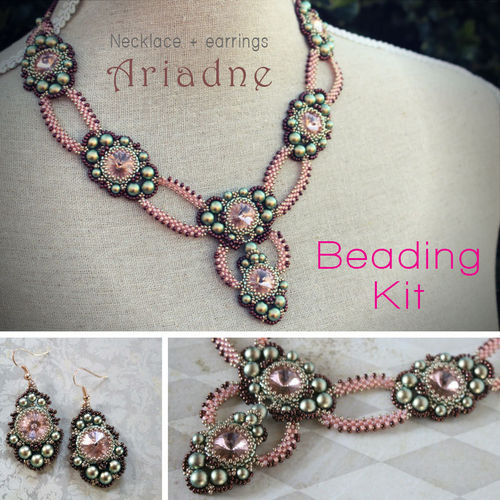 Beading kit - necklace and earrings 'Ariadne' - Green/salmon