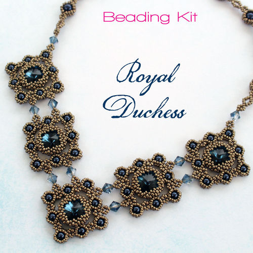 Beading kit for necklace 'Royal Duchess' - Montana/Pewter