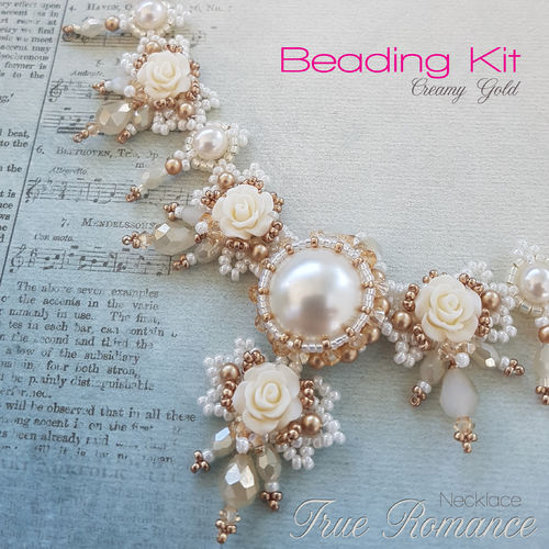 Beading kit for necklace 'True Romance' - Cream