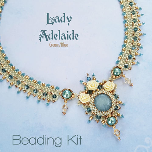 Beading Kit - Necklace 'Lady Adelaide' - Cream/Blue