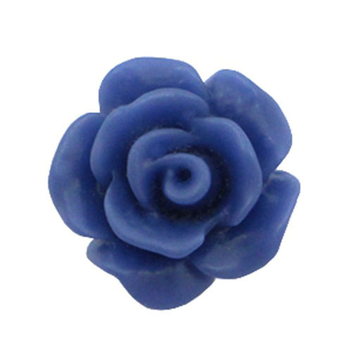 Rose bead 10mm - Matt Navy Blue x5