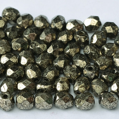 Firepolished 4mm - Crystal Antique Chrome x50