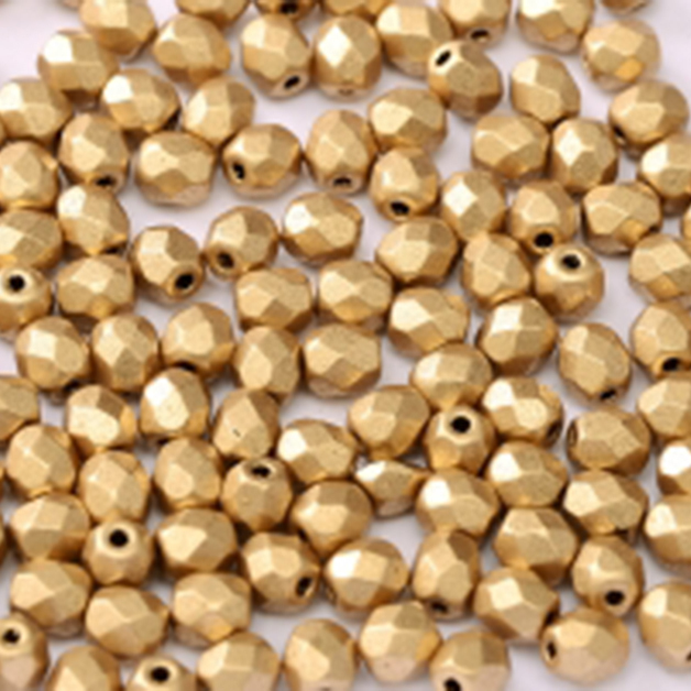 Firepolished 4mm Aztec Gold x50 Trinkets beading