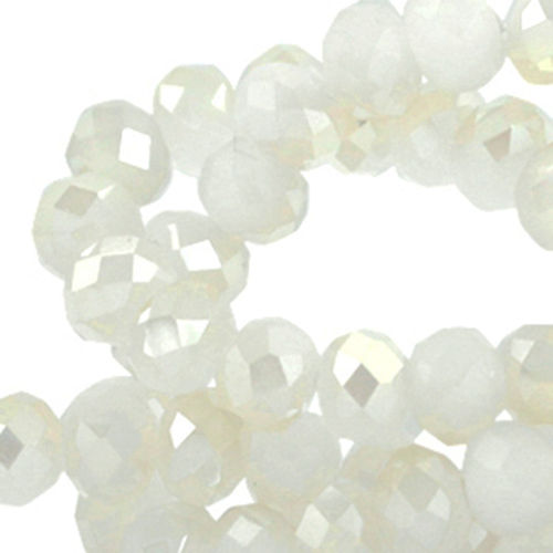 4x3mm Disc - White Alabaster Champagne Diamond Coating x50