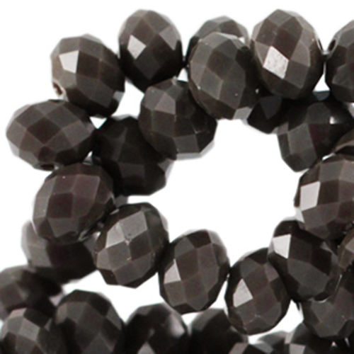 4x3mm Disc - Dark Olive Brown Opaque x50