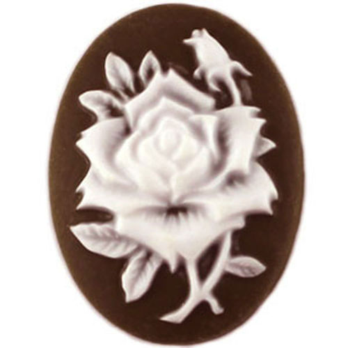 Cameo Rose 13x18mm - Brown/white