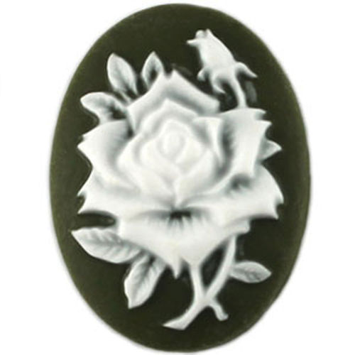 Cameo Rose 25x18mm - Army green/white