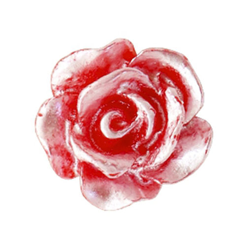 Rose bead 10mm - Red Silver Coating x5