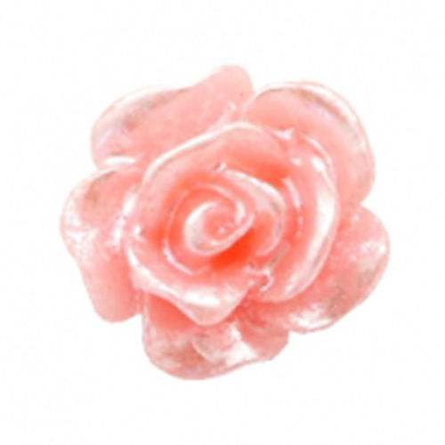 Rose bead 10mm - Salmon Rose Silver Coating x5