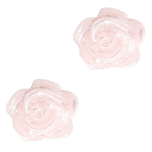 Rose bead 6mm - Pink Harmony Silver Coating x5