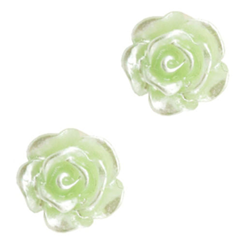 Rose bead 6mm - Celery Ice Green Silver Coating x5