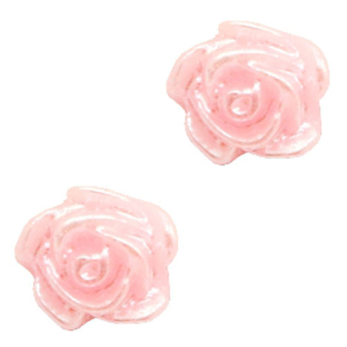 Rose bead 6mm - Baby Pink Silver Coating x5