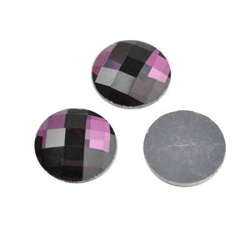 Glass chessboard flatback cabochon 20mm - amethyst