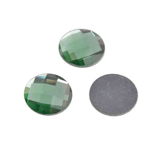 Glass chessboard flatback cabochon 20mm - light green