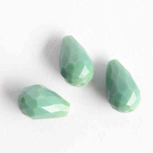 Firepolished dropbead 15x10mm - Mintgreen