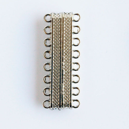 Magnetic clasp 8-strands 40x15mm silver