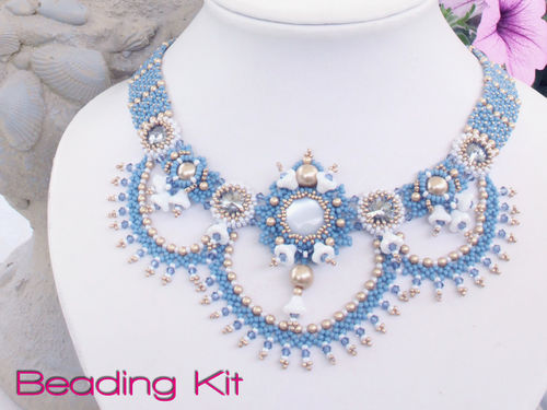 Beading kit for necklace 'Aurora' - Blue