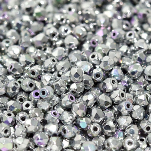 Firepolished 3mm - Crystal Glittery Silver x50