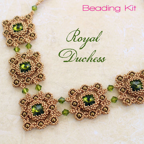 Beading kit for necklace 'Royal Duchess' - Olive/Gold