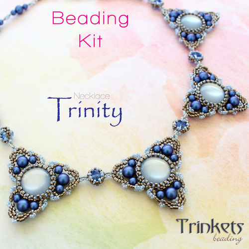 Beading kit for necklace 'Trinity' - Blue