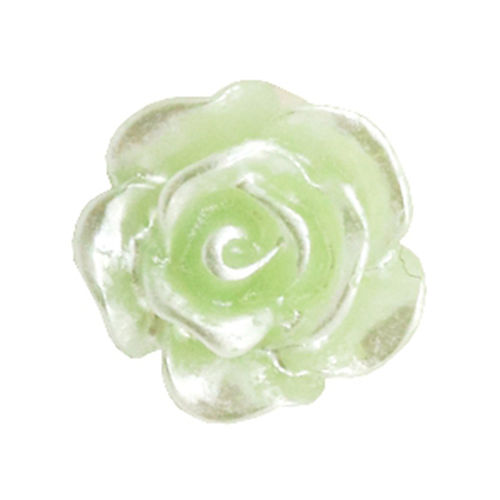 Rose bead 10mm - Celery Ice Green Silver Coating x5