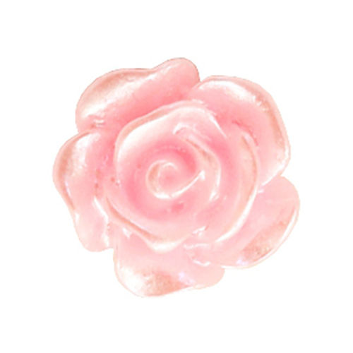Rose bead 10mm - Baby Pink Silver Coating x5