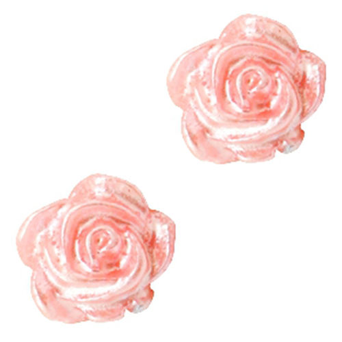 Rose bead 6mm - Salmon Rose Silver Coating x5